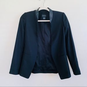 Club Monaco Black Blazer with Leather Trim Size 00